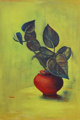 Terra Painting - Money Plant - Still Life by Usha Shantharam
