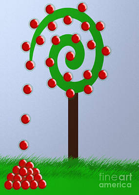 Andee Design Red Digital Art - Money Tree by Andee Design