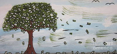 Money God Painting -  The Money Tree by Jeffrey Koss