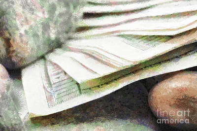 Crowd Close-up Painting - Money Under Stones Painting by Magomed Magomedagaev
