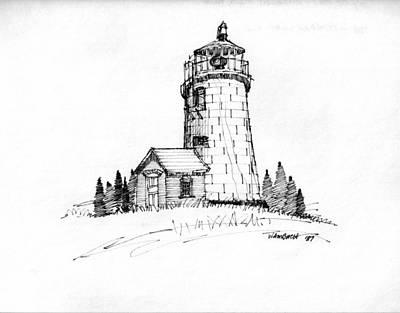 Maine Coast Drawing - Monhegan Lighthouse 1987 by Richard Wambach