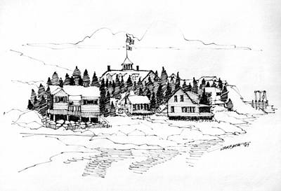 Maine Coast Drawing - Monhegan Village 1987 by Richard Wambach