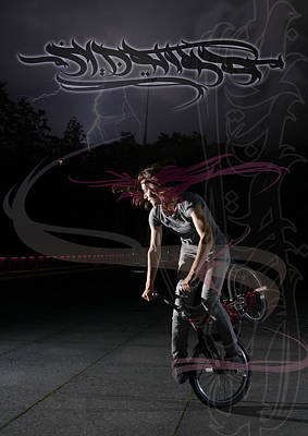 Mixed Media - Monika Hinz Doing Great Bmx Flatland Action On Her Bike by Matthias Hauser