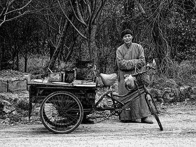 Photograph - Monk And Food Cart by Robert Knight