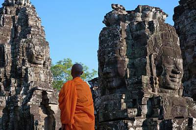 Monk At Bayon Temple, Angkor Thom Art Print