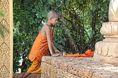 Monk Cambodia Art Print by Chuck Kuhn