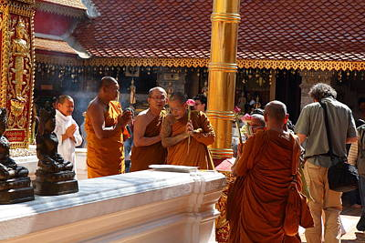 Monk Ceremony - Wat Phrathat Doi Suthep - Chiang Mai Thailand - 01131 Art Print by DC Photographer