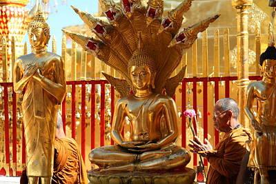 Phrathat Photograph - Monk Ceremony - Wat Phrathat Doi Suthep - Chiang Mai Thailand - 011310 by DC Photographer