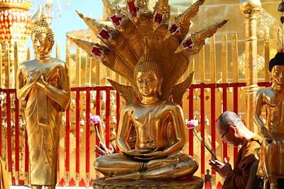 Phrathat Photograph - Monk Ceremony - Wat Phrathat Doi Suthep - Chiang Mai Thailand - 011311 by DC Photographer
