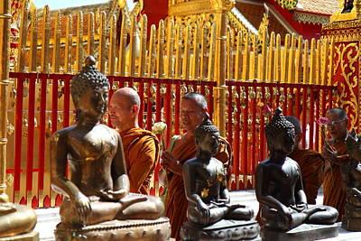 Monk Ceremony - Wat Phrathat Doi Suthep - Chiang Mai Thailand - 01135 Art Print