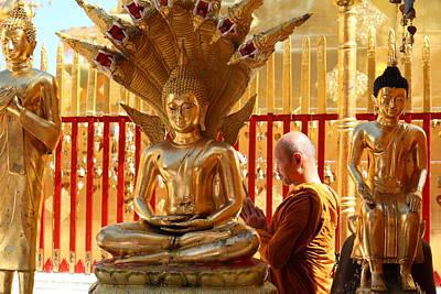 Phrathat Photograph - Monk Ceremony - Wat Phrathat Doi Suthep - Chiang Mai Thailand - 01137 by DC Photographer