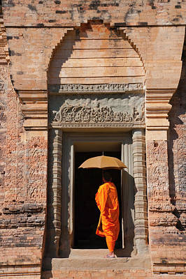 Monk In Prasat Kravan With Brick Art Print