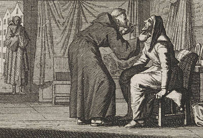 Caspar Drawing - Monk Looks Into The Gaping Mouth Of An Old Woman by Caspar Luyken And Christoph Weigel