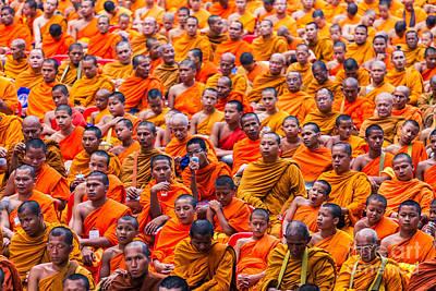 Monk Mass Alms Giving Art Print by Fototrav Print