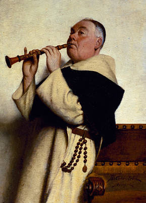 Abbot Painting - Monk Playing A Clarinet by Ture Nikolaus Cederstrom