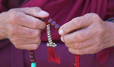 Rosaries Photograph - Monk Praying With Beads, Phyang Gompa by Keren Su