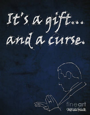 Series Drawing - Monk Quote - It's A Gift And A Curse by Pablo Franchi