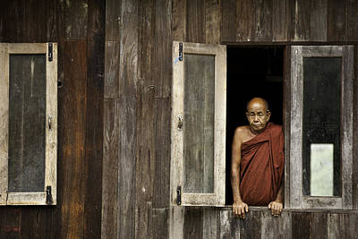 Monk Standing By The Window In Tharkong Monastery Print by Ruben Vicente