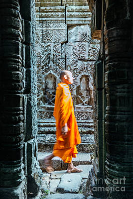 Monk Photograph - Monk Walking Inside Angkor Wat Temples - Cambodia by Matteo Colombo