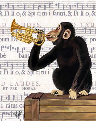 Trumpet Digital Art - Monkey And Trumpet by Kelly McLaughlan