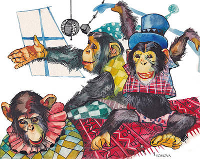 Chimpanzee Mixed Media - Monkey Games by Lyudmila Tomova