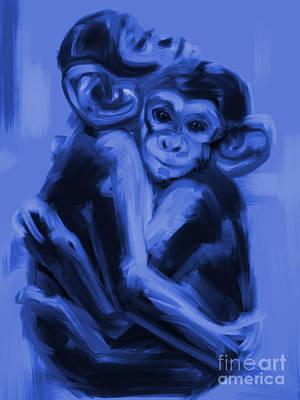 Painting - Monkey Love T17 by Go Van Kampen