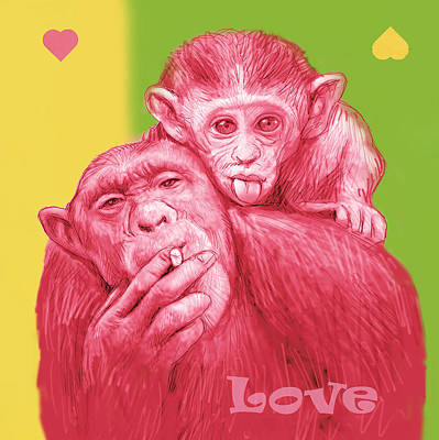 Monkey Love With Mum - Stylised Drawing Art Poster Art Print