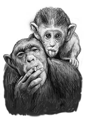 Monkey Mum With Son Drawing Sketch Print by Kim Wang