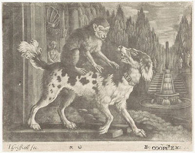 Garden Drawing - Monkey On The Back Of A Dog, Jan Griffier by Jan Griffier I And Edward Cooper