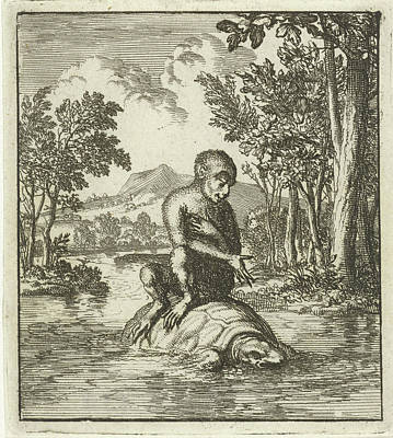 Monkey, On The Back Of A Turtle Cross A River Art Print