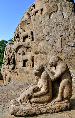 Monkey Sculptures Near The Arjuna's Art Print
