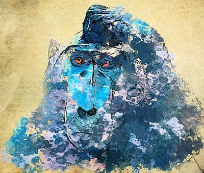 House Pet Digital Art - Monkey Thinking 2 by Yury Malkov