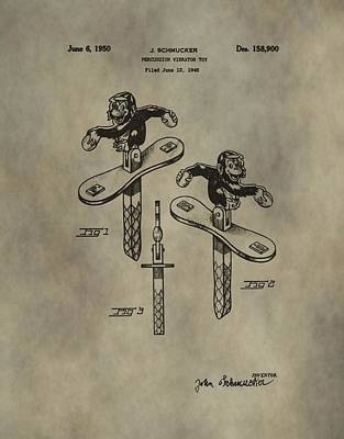 Toy Store Digital Art - Monkey Toy Patent by Dan Sproul