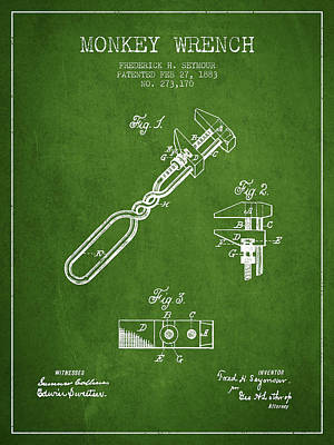 Monkey Wrench Patent Drawing From 1883 - Green Art Print