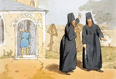 Orthodox Drawing - Monks, C.1804 by John Augustus Atkinson