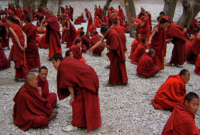 Buddhist Monks Photograph - Monks Debating by Yvette Depaepe