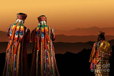 Monks From Bhutan Art Print