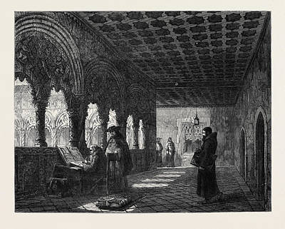 Illuminated Drawing - Monks Illuminating In A Convent At Valladolid Spain by Spanish School