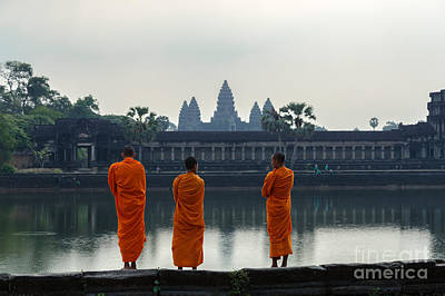 Monk Photograph - Monks In Front Of Angkor Wat Temple - Cambodia by Matteo Colombo