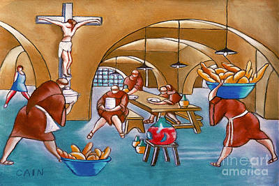 Painting - Monks Meal by William Cain