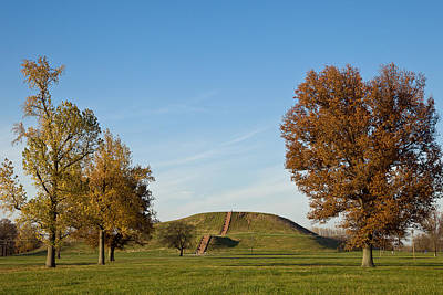 Monks Mound Photograph - Monks Mound At Cahokia Mounds by Carver Mostardi