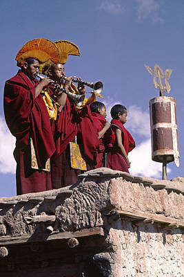 Photograph - Monks Playing Horns - Tikse Monastery Ladakh by Craig Lovell