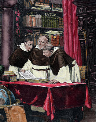 Monks Reading A Copy Of The Gutenberg Print by Prisma Archivo