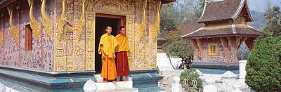 Contemplative Photograph - Monks Wat Xien Thong Luang Prabang Laos by Panoramic Images