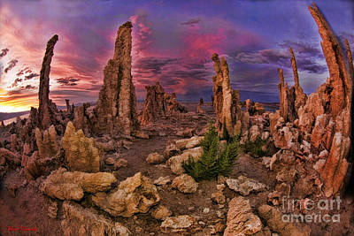 Photograph - Mono Lake Tufa Towers Yellow  Pink And Blue Sky by Blake Richards