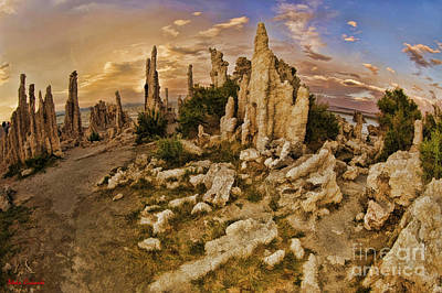 Photograph - Mono Lake Tufa Towers Yellow And Blue Sky by Blake Richards