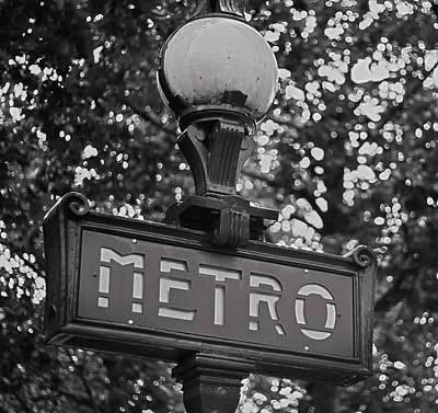 Underground Tour Photograph - Mono Metro - Paris Art by Georgia Fowler