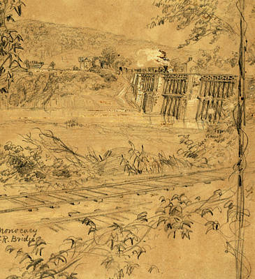Chinese American Drawing - Monocacy R.r. Bridge, 1863 Ca. June-july by Quint Lox