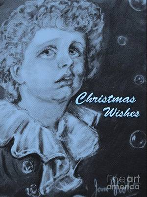 Mixed Media - Monochrome Bubbles Christmas Wishes by Joan-Violet Stretch