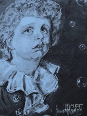 Mixed Media - Monochrome Bubbles Portrait by Joan-Violet Stretch